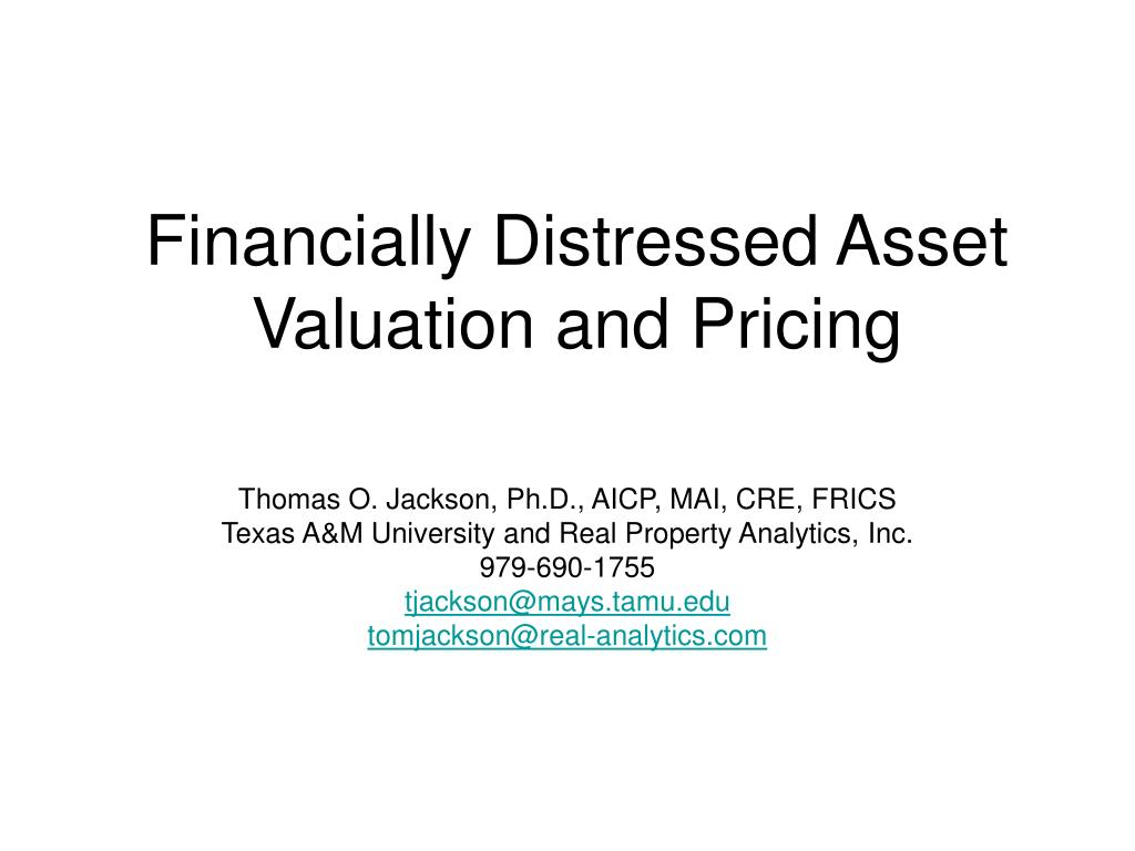 financially distressed asset valuation and pricing l.
