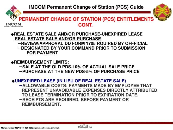 Ppt Imcom Permanent Change Of Station Pcs Guide 12 August 2010