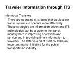 traveler information through its