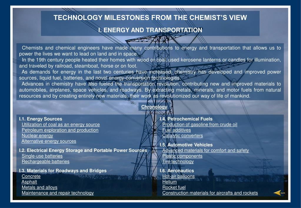 technology milestones from the chemist s view i energy and transportation l.
