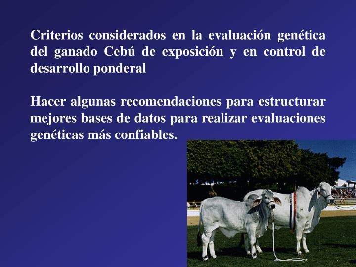 Criterios considerados en la evaluación genética del ganado Cebú de exposición y en control de desarrollo ponderal