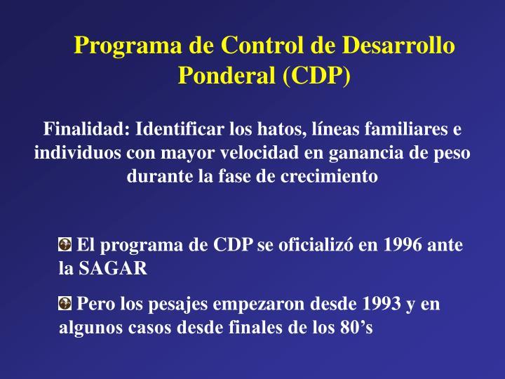 Programa de Control de Desarrollo Ponderal (CDP)