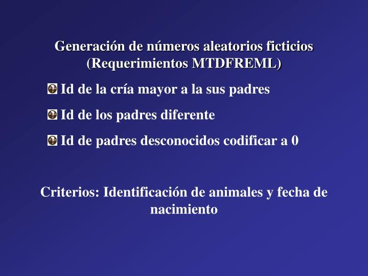 Generación de números aleatorios ficticios (Requerimientos MTDFREML)
