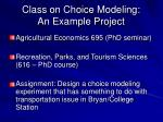 class on choice modeling an example project