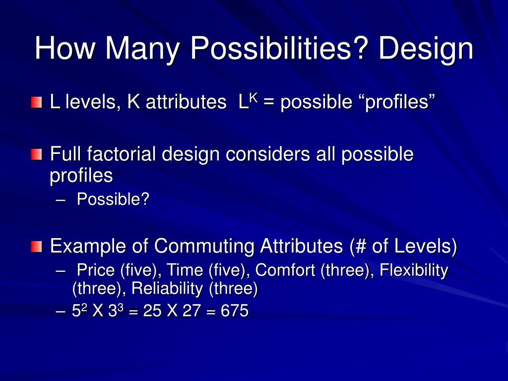 How Many Possibilities? Design