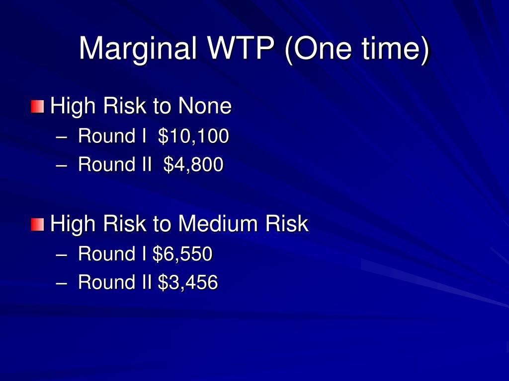 Marginal WTP (One time)