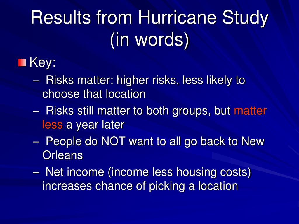 a study of hurricane