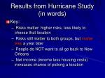 results from hurricane study in words