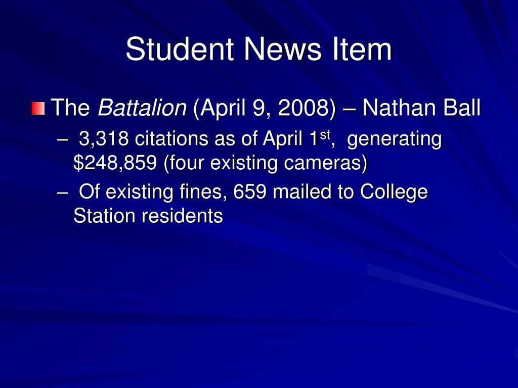 Student News Item