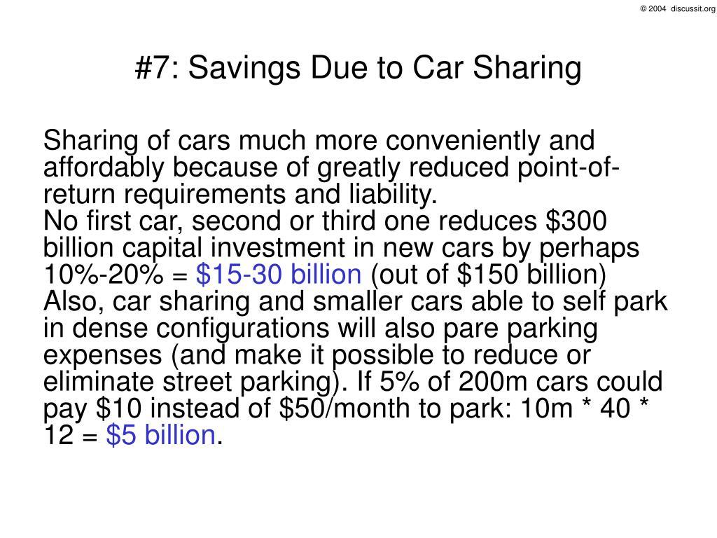 #7: Savings Due to Car Sharing