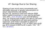 7 savings due to car sharing