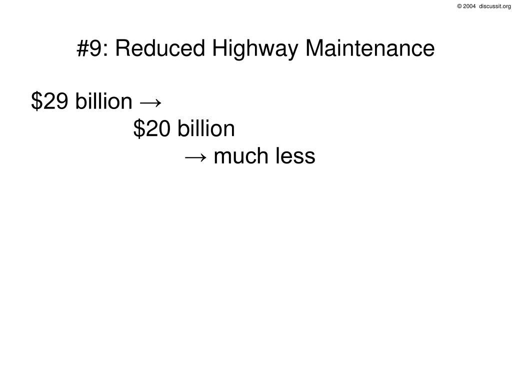 #9: Reduced Highway Maintenance