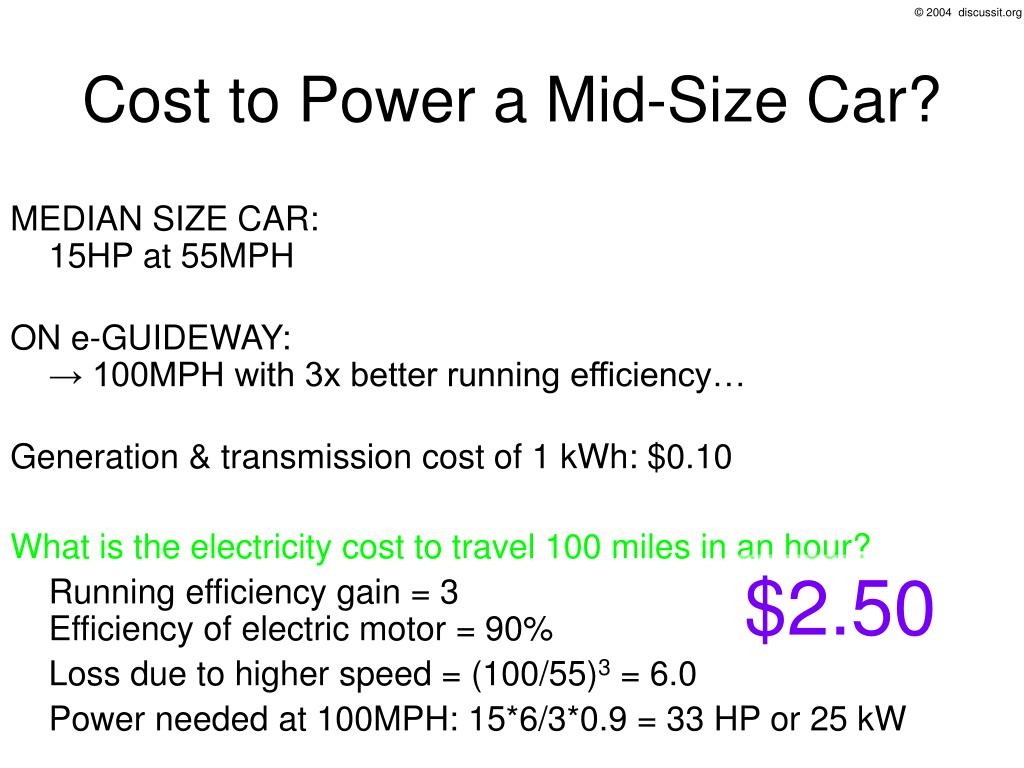 Cost to Power a Mid-Size Car?