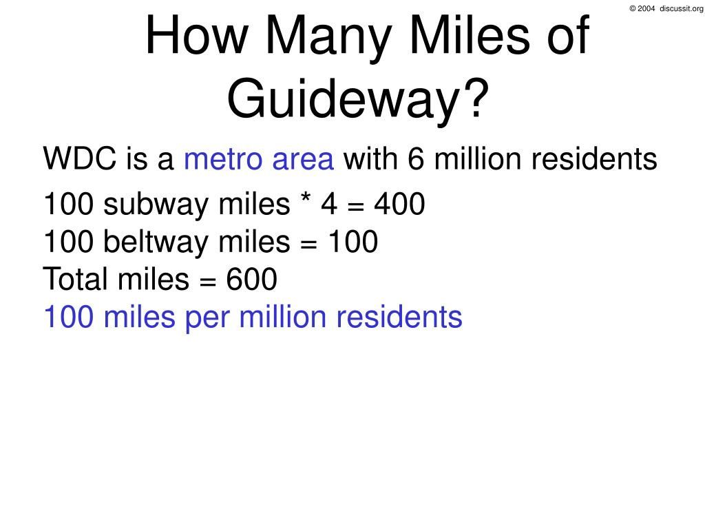 How Many Miles of Guideway?