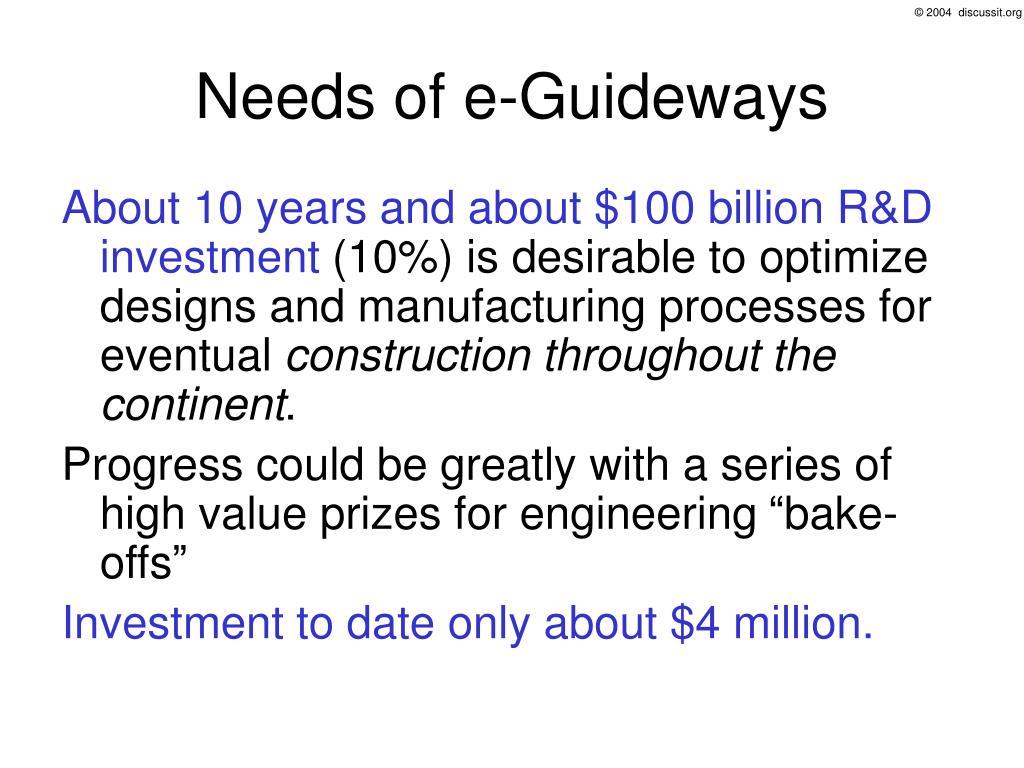 Needs of e-Guideways