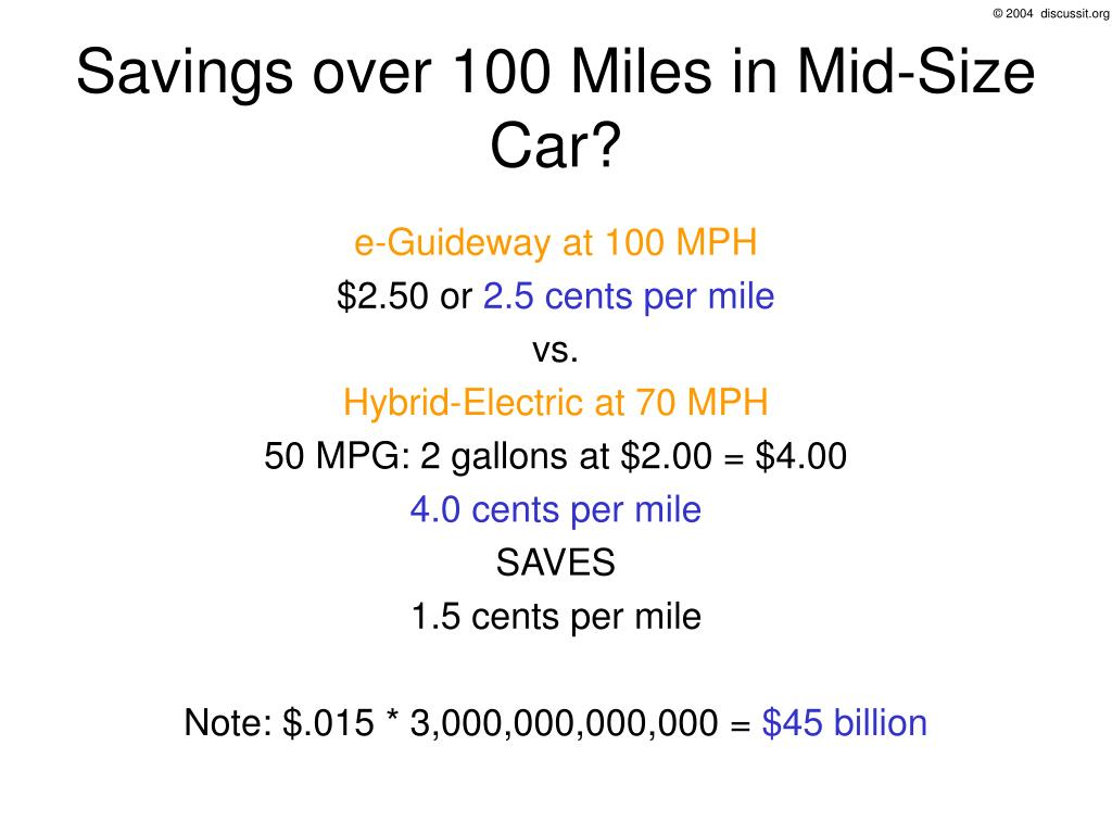 Savings over 100 Miles in Mid-Size Car?