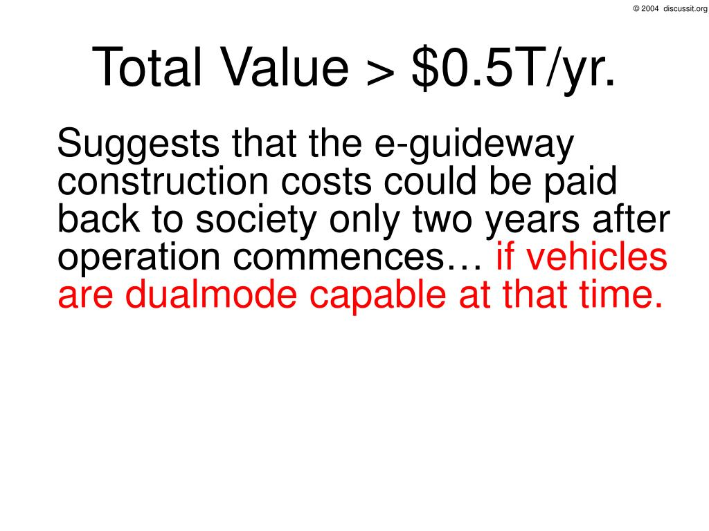 Total Value > $0.5T/yr.