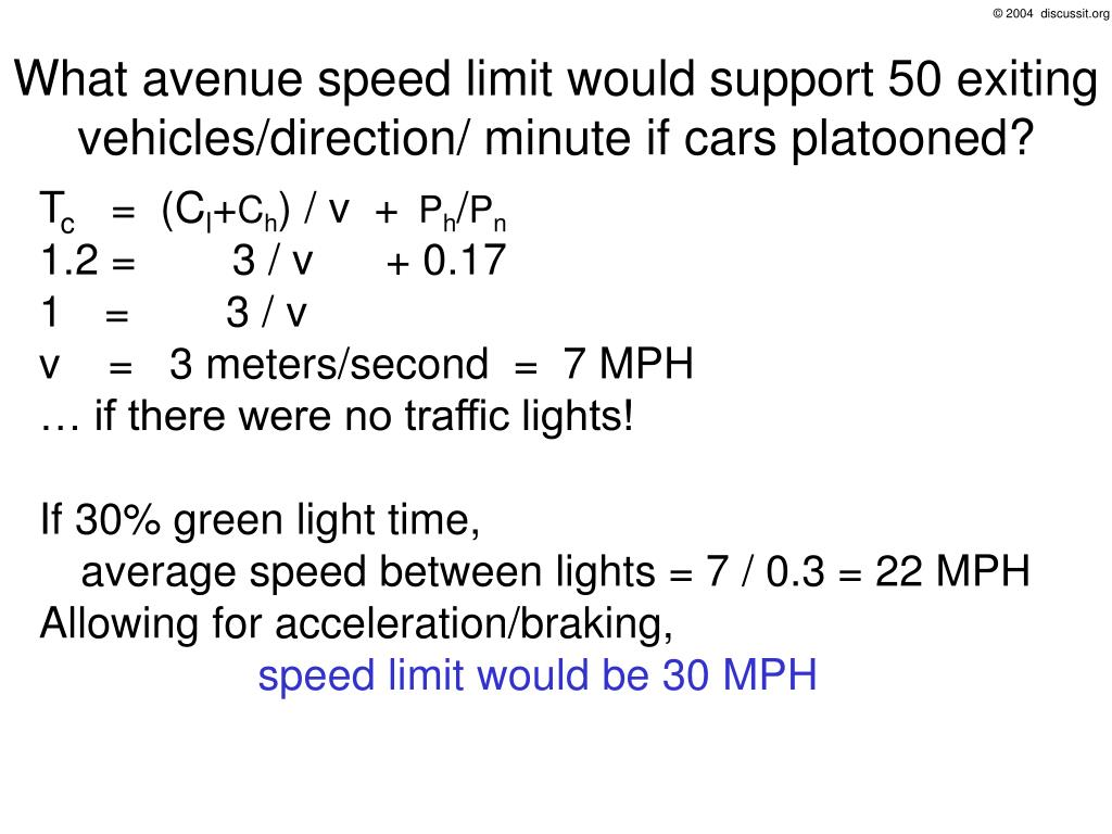 What avenue speed limit would support 50 exiting vehicles/direction/ minute if cars platooned?