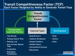 transit competitiveness factor tcf each factor weighted by ability to generate transit trips