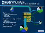 understanding markets identify places where transit is competitive
