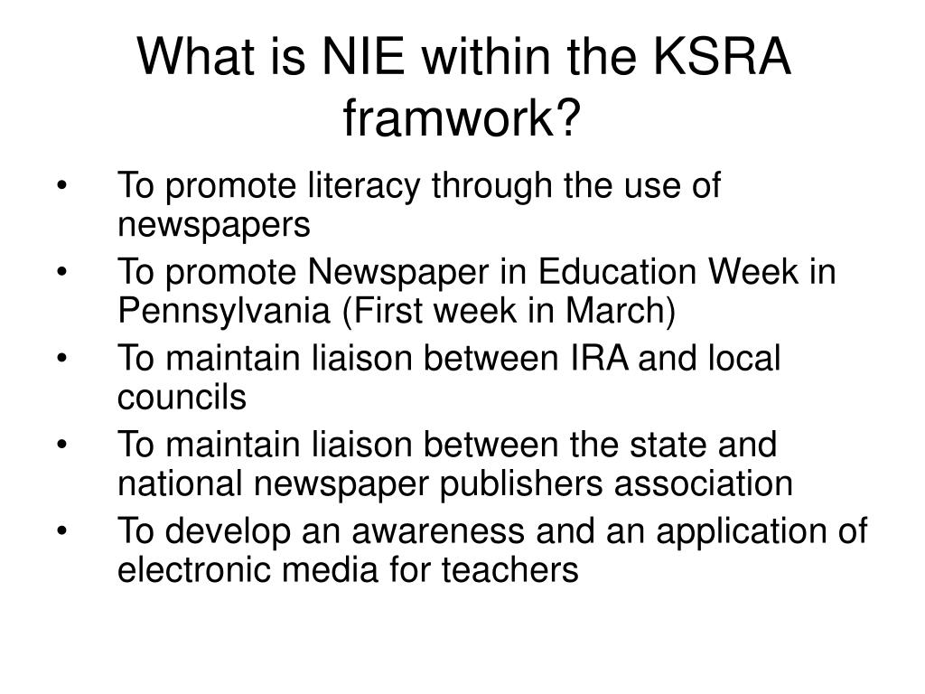 What is NIE within the KSRA framwork?