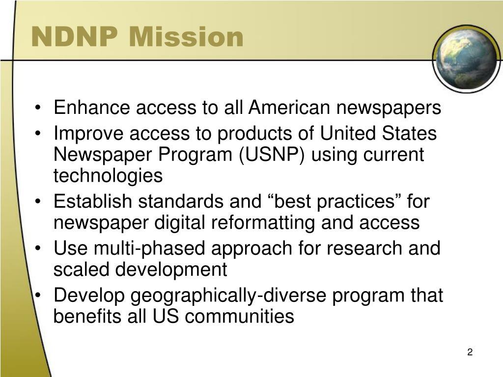 NDNP Mission