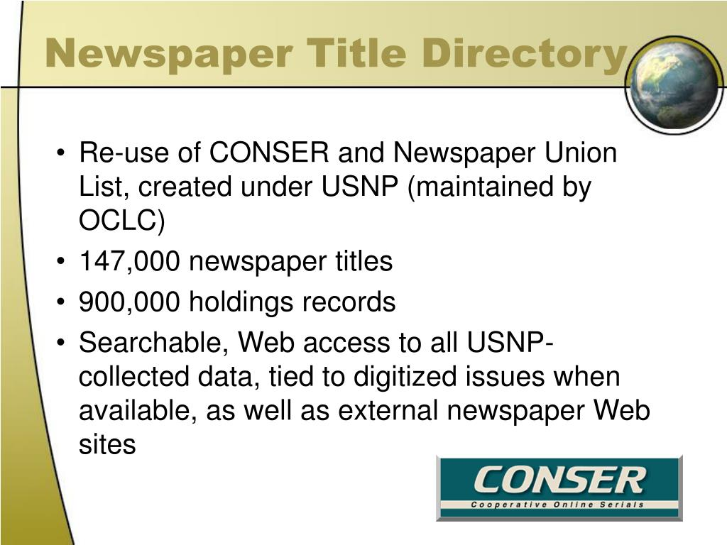 Newspaper Title Directory