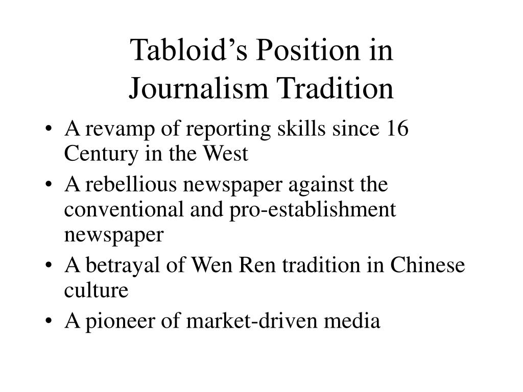 Tabloid's Position in