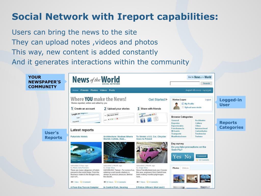 Social Network with Ireport capabilities: