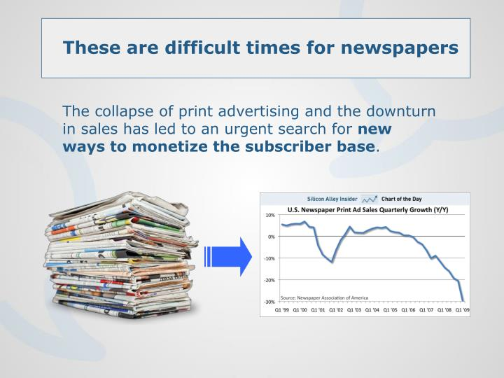 The collapse of print advertising and the downturn in sales has led to an urgent search for