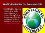 world s rabies day on september 28