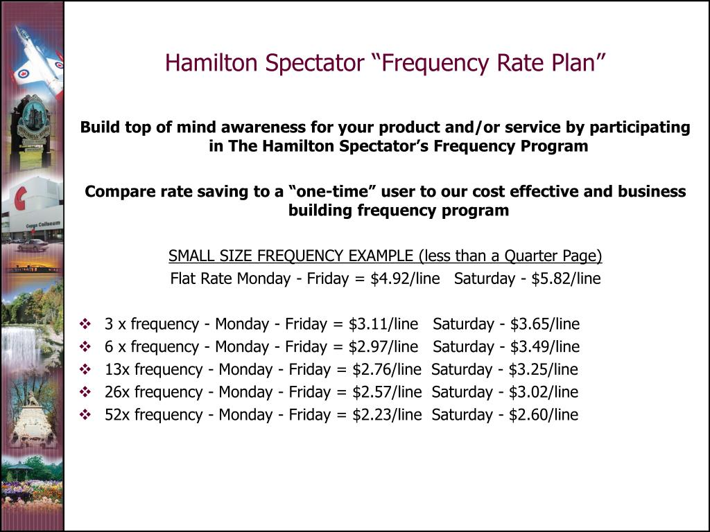 """Hamilton Spectator """"Frequency Rate Plan"""""""