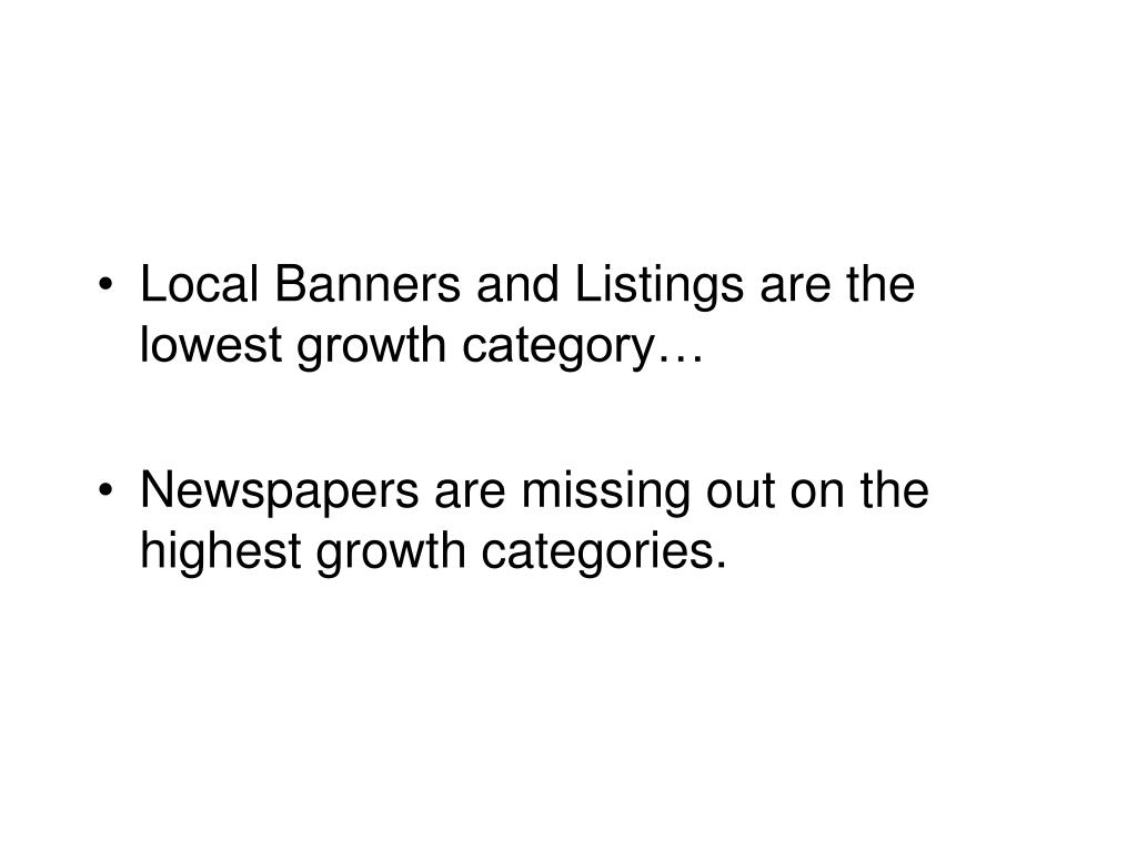 Local Banners and Listings are the lowest growth category…
