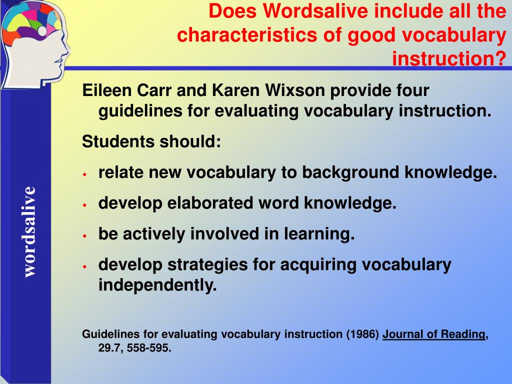 Does Wordsalive include all the characteristics of good vocabulary instruction?