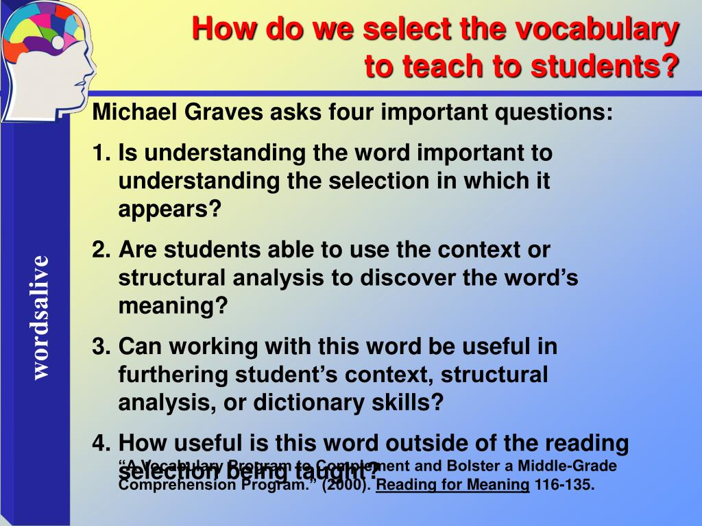 How do we select the vocabulary to teach to students?