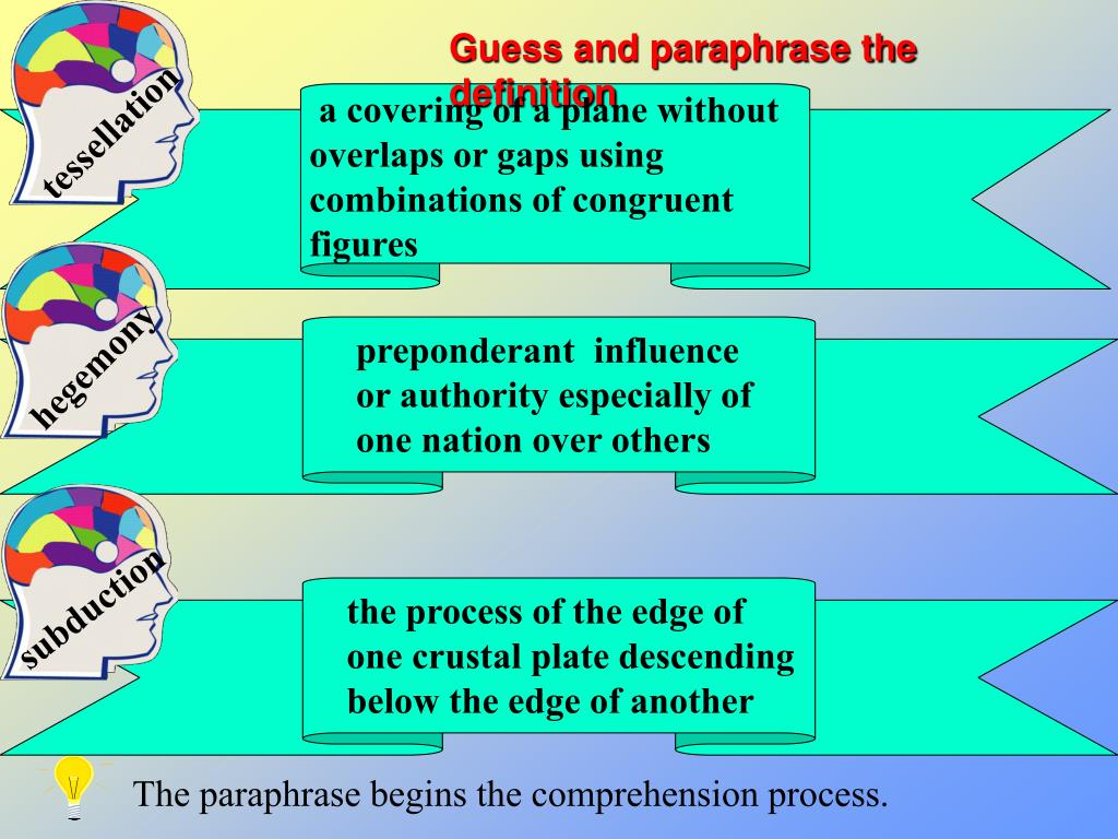 Guess and paraphrase the definition
