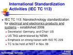 international standardization activities iec tc 113