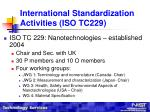 international standardization activities iso tc229