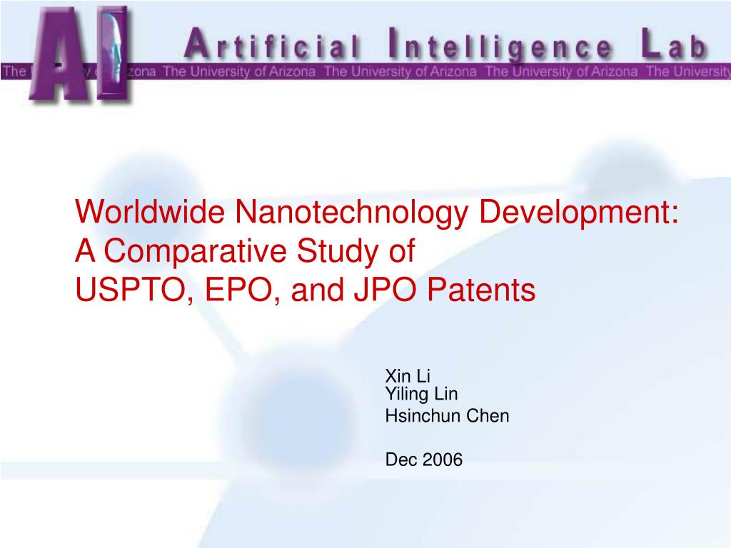 worldwide nanotechnology development a comparative study of uspto epo and jpo patents l.