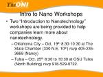 intro to nano workshops
