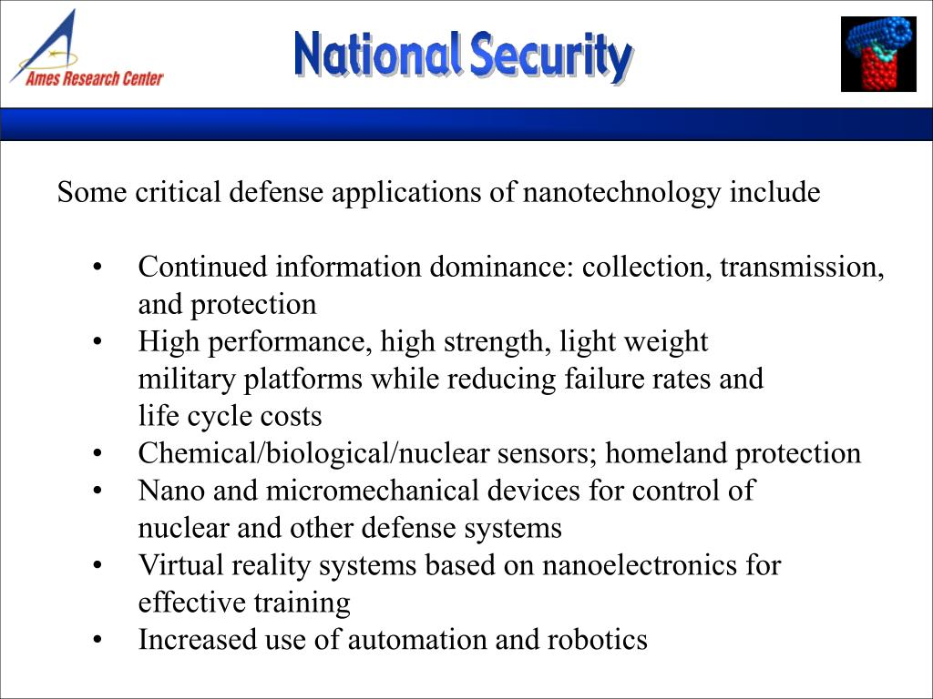 Some critical defense applications of nanotechnology include