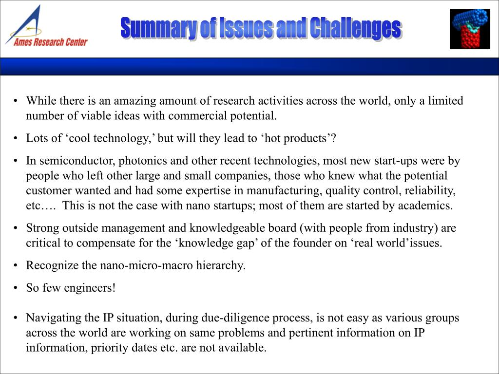 Summary of Issues and Challenges