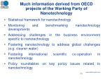 much information derived from oecd projects of the working party of nanotechnology
