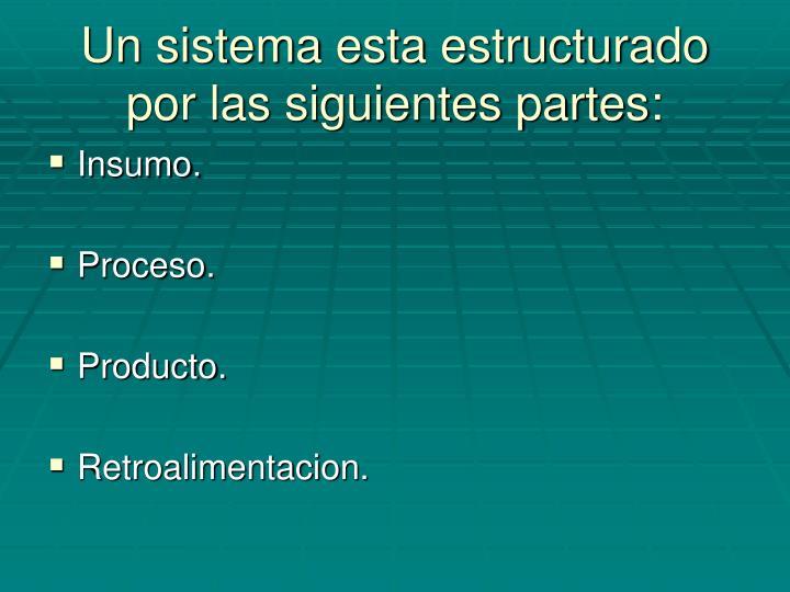 Un sistema esta estructurado por las siguientes partes: