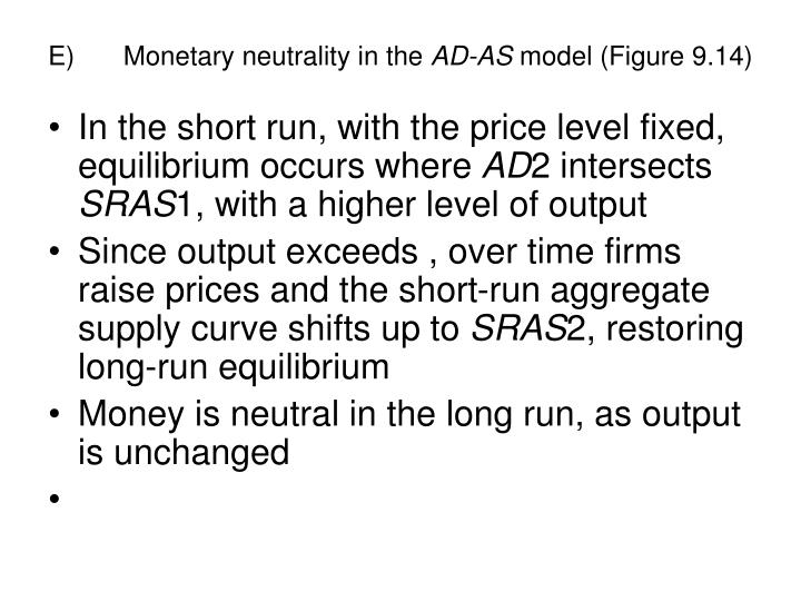 E)	Monetary neutrality in the