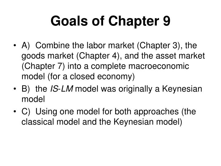 Goals of Chapter 9