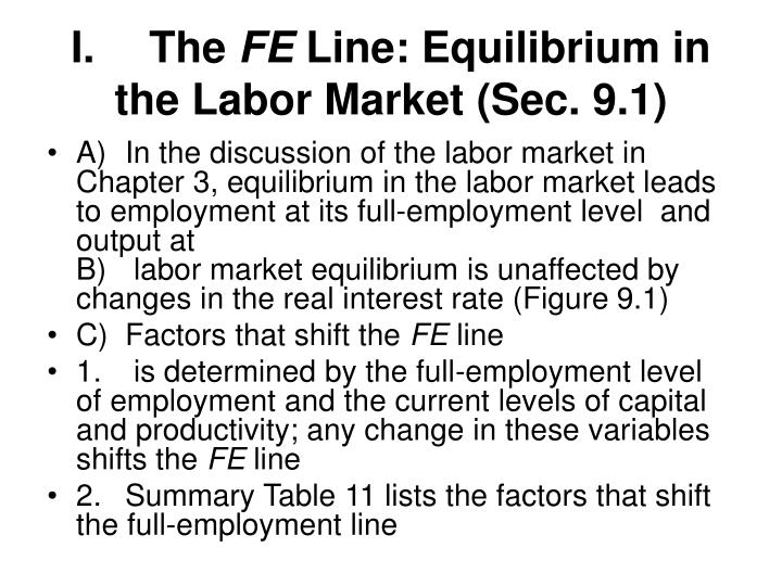 I the fe line equilibrium in the labor market sec 9 1