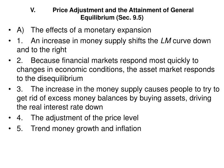 V.	Price Adjustment and the Attainment of General Equilibrium (Sec. 9.5)