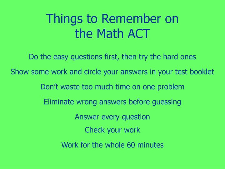 Things to Remember on the Math ACT