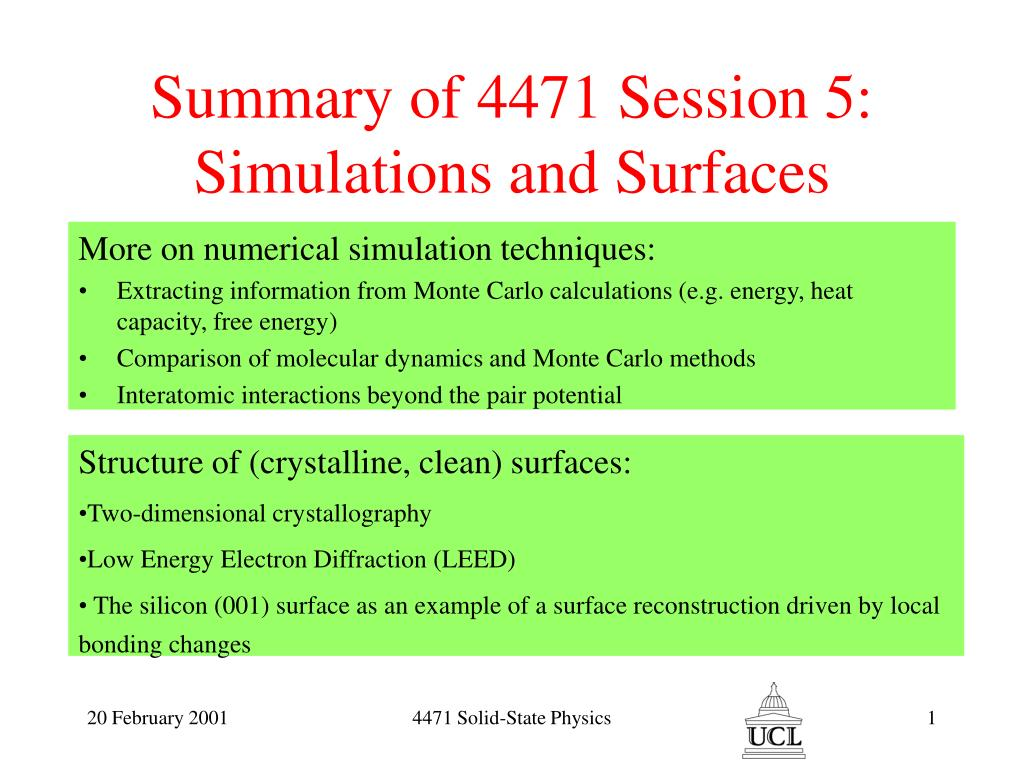 summary of 4471 session 5 simulations and surfaces l.